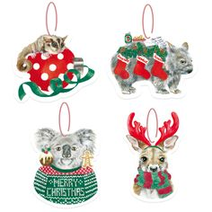 Acrylic Australian Christmas decorations illustrated by Olivia York for La La Land Shop Aussie Christmas, Australian Christmas, Christmas Time, Christmas Crafts, Christmas Ornaments, Christmas Decorations Australian, Greeting Card Shops, Australian Animals, Online Gifts