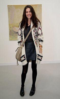 Street Style | Leila Yavari: isabel marant fringe knit boho cardigan x leather skirts x chloé marcie bag  #falloutfit #fallstyle #styleicon