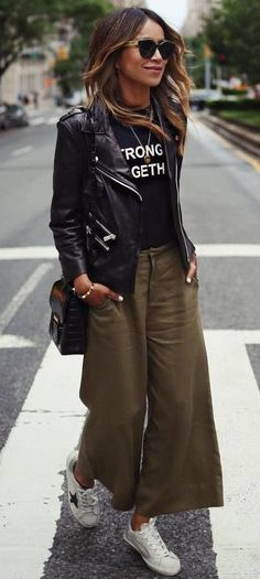 street style. culottes. leather jacket. tee. sneakers.