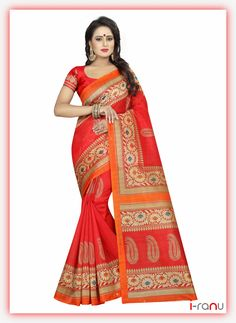 Dailywear Printed Bhagalpuri Art Silk Saree With Blouse Piece by Sourgrape's Online - Online shopping for Sarees on MyShopPrime - Formal Saree, Casual Saree, Art Silk Sarees, Silk Sarees Online, Printed Sarees, Printed Blouse, Silk Sarees With Price, Traditional Silk Saree, Traditional Art