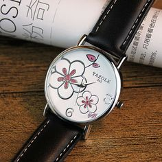 YAZOLE Brand Elegant Flowers Fashion Crystal Watch Women Watches Leather Strap Quartz Watch Lady Hour montre femme reloj mujer Like and share if you think it`s fantastic! Visit us