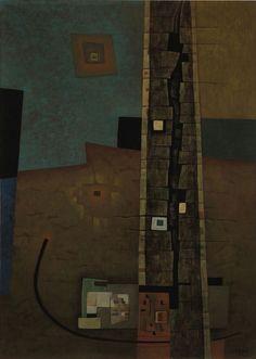 Gunther Gerzso -Gunther Gerzso LA TORRE 1955, Soporte 65 x 48.8 cm, Óleo sobre madera comprimida, Colección INBA/MACG - Museo de Arte Carrillo Gil