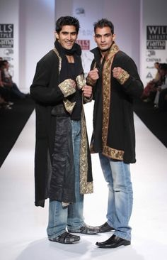 """Wills Lifestyle India Fashion Week SS Day 2 Boxing champion Vijender Singh along with his brother walks for Sanjana Jon"