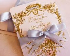 Marie Antoinette Cameo Silhouette Wedding or Event Invitations in Palest of Blue and Gold with Hand Painted Pink Roses