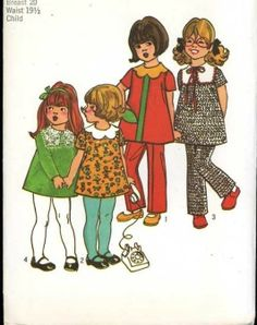 UNCUT Simplicity 9583 Sewing Pattern Baby Girls Retro 1970's Separates size 1