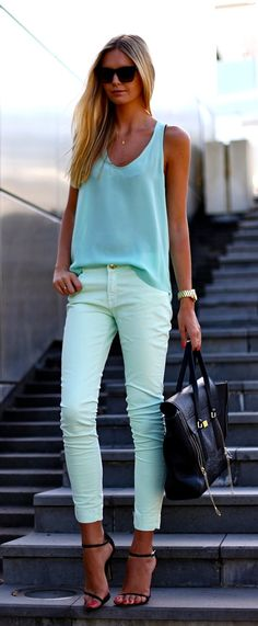 A subtle way to wear color: pastels. Id probably break my neck if I wore those gorgious strappy heels. Id got with a metalic flat or sandal.