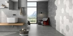The new Deco Stark range by Decobella features beautiful hexagon tiles in classic light greys, black and white. The patterns on the Deco Stark Decor range easily mix and match with each other and the Deco Stark Plain range to create a stunning design. Greige, Hexagon Tiles, Wall And Floor Tiles, Wall Tiles, Decorative Tile, Kitchen Reno, Tile Design, Porcelain Tile, Beautiful Homes