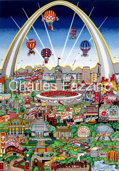 """St. Louis Meets the Mississippi, 3D #popart by pop artist Charles Fazzino. 10.5"""" x 14.75"""""""