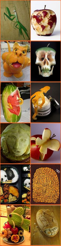 Arte com frutas/Art with fruits/Arte con frutas Veggie Art, Fruit And Vegetable Carving, Creative Kitchen, Creative Food, Cute Food, Good Food, Yummy Food, Bonbon Fruit, Food Sculpture
