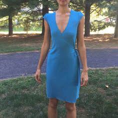 Kenneth Cole Blue Wrap Dress Xs