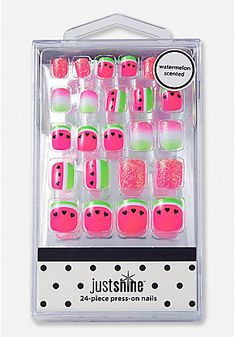 Just shine watermelon scented press on nails pretty nail designs, flower nail designs, unicorn Fake Nails For Kids, Nail Art For Girls, Unicorn Makeup, Unicorn Nails, Flower Nail Designs, Pretty Nail Designs, Cute Nails, Pretty Nails, Watermelon Nails