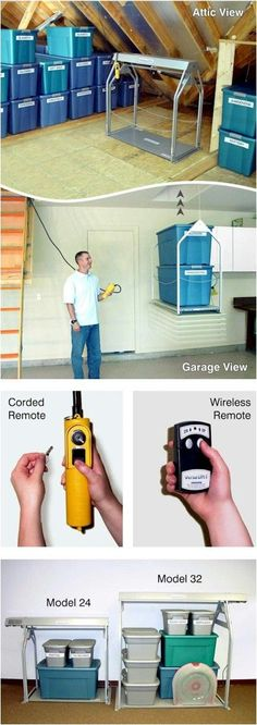 Okay, my husband would totally love this for our attic in garage. Safe Lifts of Texas Attic Storage and Safety System