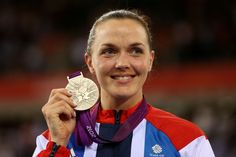 Victoria Pendleton on the podium for her silver medal in cycling