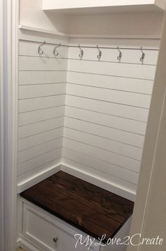 master closet plank wall and bench, My Love 2 Create on Remodelaholic