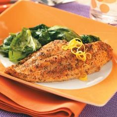 Baked Herb Catfish Recipe - A healthy twist on batter-fried catfish, the baked entree cuts the calories and saves the flavor. Fish Dishes, Seafood Dishes, Fish And Seafood, Seafood Recipes, Paleo Recipes, Cooking Recipes, Meat Recipes, Recipies, Baked Catfish Recipes