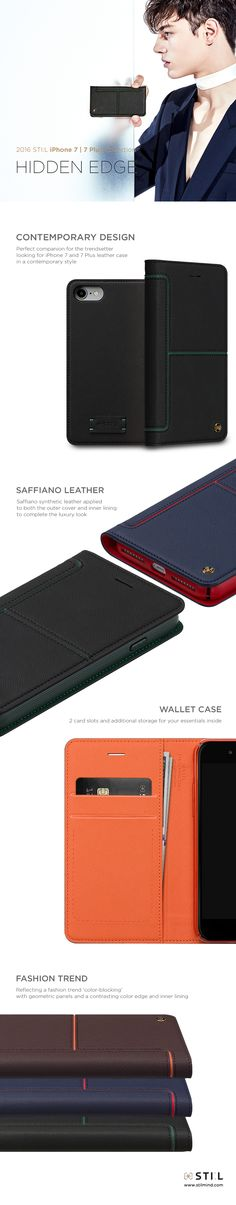 """HIDDEN EDGE"" is a modern and stylish looking #iPhone7 and #iPhone7plus leather case, featuring the current fashion trend for 'color-blocking' with geometric panels and a contrasting color edge and inner lining. It has 2 inner card slots and additional storage space. #iPhone7 #iphone7plus #iphone #stilmind #stilcase #stilphonecase #stil #apple #7plus #fashion #trend #item #design #mobile #phone #case #2016fw #2016collection #vegetableleather #italianleather #catalog #ebook"
