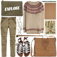 the explorer by foundlostme on Polyvore featuring K. Jacques, T-shirt & Jeans, Dr.Hauschka, Dot & Bo, Pier 1 Imports, HAY, Oysho, travel, life and cargopants