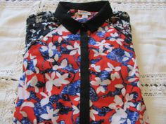 NEW Peter Pilotto for Target Blouse RED Blue Black Floral Print/Lace, Sz S/P