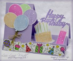 Side-step Birthday by llwright - Cards and Paper Crafts at Splitcoaststampers Birthday Whimsey (SU! Tri Fold Cards, Flip Cards, Fancy Fold Cards, 3d Cards, Folded Cards, Easel Cards, Kids Birthday Cards, Handmade Birthday Cards, Sister Birthday