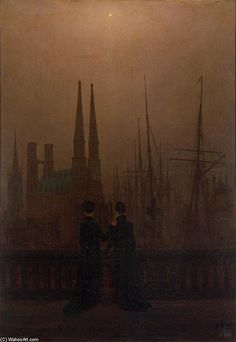 'The Sisters on the Balcony', Oil On Canvas by Caspar David Friedrich (1774-1840, Germany)