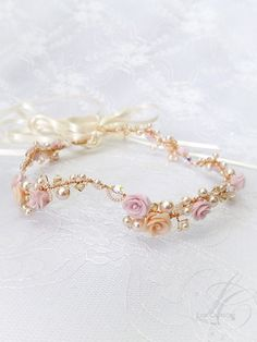 Crystal Bridal Floral Crown Peach and Gold Roses - Peach/Pink Gold Bridal Headband -  Sparkling Gold Wedding Crystal Head Piece