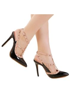 Black Beige Pointed Toe Rivets Women High Heels_Women Shoes_Sexy Lingeire |  Cheap Plus Size Lingerie At