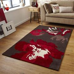 Alfombra Hong Kong 2827 Ikebana de Think, marrón y rojo