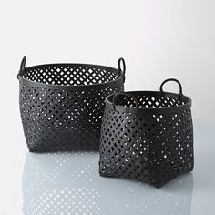 Pack of 2 Tigra Woven Bamboo Baskets LA REDOUTE INTERIEURS . Set of 2 Tigra woven bamboo baskets. This set of 2 bamboo baskets features a high quality weave and a really elegant white finish. Really versatile,. Bamboo Weaving, Basket Weaving, Storage Containers, Storage Baskets, Black Basket, Auction Baskets, Bamboo Basket, Bamboo Crafts, Art Bag