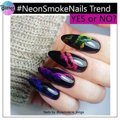 "3,281 Likes, 128 Comments - TheGlitterNail  Get inspired! (@theglitternail) on Instagram: ""✨ YES or NO? - - • - - Neon Smoke Effect on Black Nails.  Do you like this new trend? - - • - - …"""