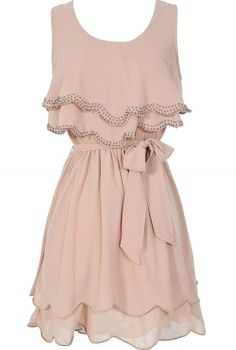 Tiered Flutter Top Dress in Taupe