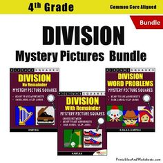 4th Grade Division Mystery Pictures Coloring Worksheets/Task Cards Bun - Printables & Worksheets Flip Cards, Task Cards, 4th Grade Math Worksheets, Problem Set, Coloring Worksheets, Multiplication And Division, Word Problems, Mystery, Printables