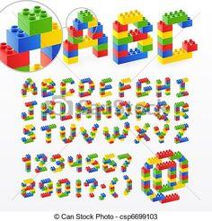 colorido, ladrillo, juguetes, fuente, números - csp6699103