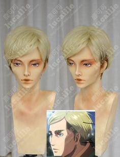 Attack on Titan Erwin Smith Cream Gradient Black Short Cosplay Party Wig