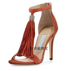 Grandi dimensioni 42 jimmy marca 2016 donne di estate scarpe sandalia gladiadora frangia tacchi alti in pelle scamosciata sandali neri open toe