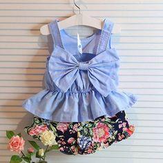 2pcs Baby Girls Clothing Set Sleeveless Big Bow 2-6 Years