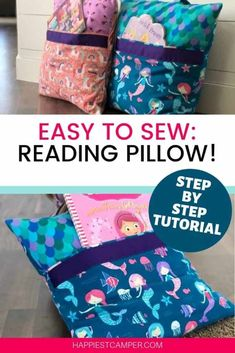 Easy to Sew, Reading pillow. I love this easy sewing project! My kids loved it even more. This step by step tutorial on how to sew a reading pillow includes sewing pictures and video. This Sewing…More Book Pillow, Reading Pillow, Pillow Room, Sewing Patterns Free, Free Sewing, Pattern Sewing, Sewing Hacks, Sewing Tutorials, Sewing Tips
