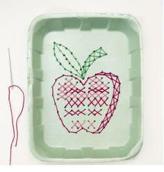 This Cross Stitch Apple craft is an ideal project for Rosh Hashana and fall. Additionally it recycles a styrofoam tray that would otherwise go into the lan Thanksgiving Crafts, Fall Crafts, Holiday Crafts, Fun Crafts For Kids, Projects For Kids, Beattitudes For Kids, Multicultural Crafts, Nanny Activities, Jewish Crafts
