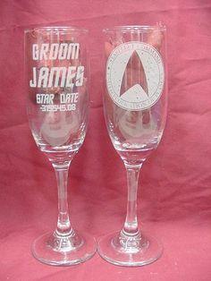 Star Trek Trekkie Wedding Keepsake, Champagne Flutes Engraved