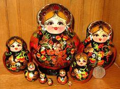 Russian nesting doll BLACK RED Babushka KHOKHLOMA 10 hand painted GONCHAROVA ART