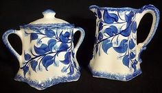 White with Country Blue Accents and Pale Blue Flowers! Six Sided Sugar Bowl and Creamer! Made by the Cash Family in Erwin, Tennessee! Circa 1945 From Ginger737 on Ebay!