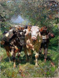 HEINRICH VON ZÜGEL - Fazendeiro com vacas no portão - Óleo sobre tela - 60 x 84 HEINRICH VON ZÜGEL - Alguns animais no pasto Óle...