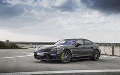 Porsche Panamera Turbo S E-Hybrid, 2018 cars, luxury cars, black Panamera, Porsche