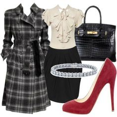 black skirt, plaid coat, red shoes
