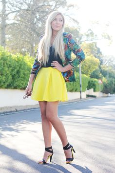 Tropical jacket | yellow asos skirt | woolworths black yellow sandals