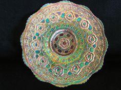 Captive Rose Plate Spectacular Green Carnival Glass | eBay