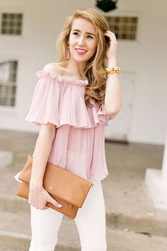 pink ruffle off the shoulder top   spring fashion   spring style   how to style an off-the-shoulder top   fashion for spring   style ideas for spring   warm weather fashion   fashion tips for spring    a lonestar state of southern