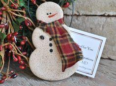 Primitive Snowman Cinnamon Salt Dough Ornament