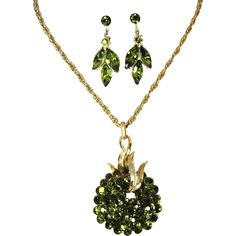 Crown Trifari Peridot Rhinestone Necklace and Earring Set SENSATIONAL - Offered by Ruby Lane shop Premier-Antiques