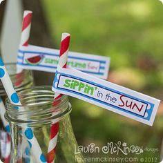 summertime straw drinking flags