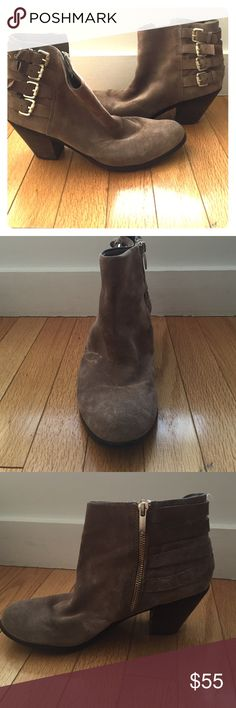 Sam Edelman ankle booties Taupe colored ankle boots. They are in great condition. They have cool buckles along the side and a small chunky heel. Very comfortable. Sam Edelman Shoes Ankle Boots & Booties